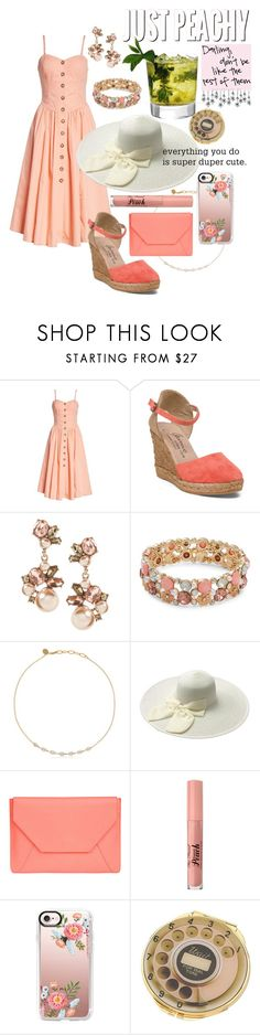 """""""Derby Peach"""" by madelineharr ❤ liked on Polyvore featuring Free People, Something Strong, Design Lab, MAHA LOZI, Senreve, Too Faced Cosmetics, Casetify and Kate Spade"""