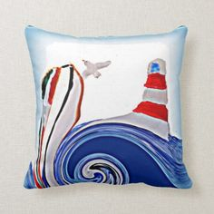Shop Nautical Abstract Lighthouse Boat Throw Pillow created by AnnabelsAbstract. Personalize it with photos & text or purchase as is! Seaside Theme, Nautical Theme, Abstract Waves, Custom Pillows, Red White Blue, Lighthouse, Framed Prints, Boat, Throw Pillows