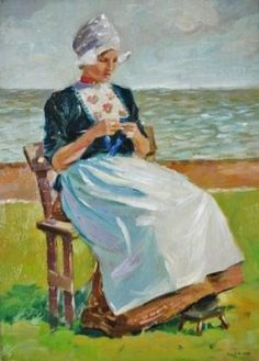 Christopher Dean (Glasgow-born artist Inglese, fl. 1895-1924 Dutch Girl Knitting by the Sea
