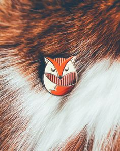 Fox Enamel Lapel Pin Badge