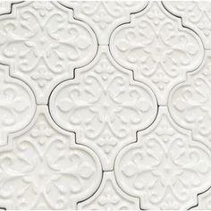 Florid Arabesque Bianco Ceramic Wall Tile Byzantine Florid Arabesque Bianco Ceramic Tile - Arabesque Tile - Shop By Tile Shape and PatternByzantine Florid Arabesque Bianco Ceramic Tile - Arabesque Tile - Shop By Tile Shape and Pattern Kitchen Tiles, Kitchen Design, Kitchen Backsplash Diy, Backsplash Arabesque, Backsplash Tile, Tiling, Moroccan Tile Backsplash, Moroccan Tiles, Lantern Tile