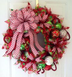 FALL SALE Striped Deco Mesh Christmas Wreath by TheRedHenHouse, $75.00