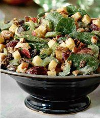Waldorf Salad: chopped romaine, 2 fuji apples, 2 granny smith apples, 3 stalks celery, 1 cup red grapes, 1/2 c of raisins, 1/2 c walnuts    Dressing: 1 cup raw almonds, 1/4 cup water, 1/2 tsp Celtic salt, 4 dates, 1 lemon, 1/4 cup olive oil. Blend