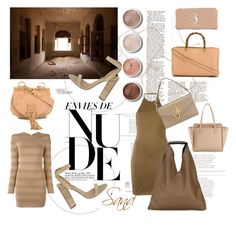 """""""Nude Palette"""" by tessabit ❤ liked on Polyvore featuring Gucci, Yves Saint Laurent, Salvatore Ferragamo, See by Chloé, Balmain, adidas Originals, Terre Mère, MM6 Maison Margiela and J.W. Anderson"""