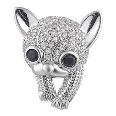 White Crystal Kitty Cat Noosa Snap On Charm by ArmCandyCompany