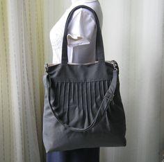 Sale 10% - Grey Canvas Messenger Bag - Diaper bag / Tote / Handbag / Shoulder bag / Women -IRENE. $39.00, via Etsy.