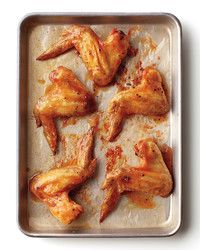 Miso-Honey Wings Roast lightly oiled and salted chicken wings in a 400 degree oven until crisp and golden. Combine 2 parts honey and 1 part miso); Brush wings with glaze; Brush with more glaze and serve. Roasted Chicken Wings, Honey Chicken, Miso Chicken, Golden Chicken, Miso Butter, Butter Pasta, Honey Recipes, Sweet Recipes, Vegan Recipes
