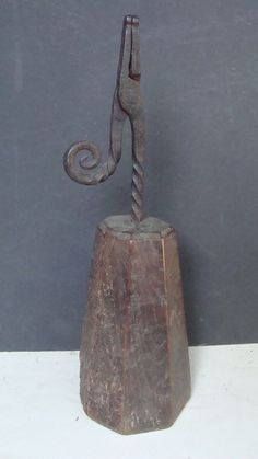 Hand Wrought Iron 18th C Curly Tail Rush Lamp on Wood Base         Sold  Ebay   485.00