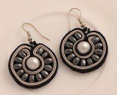 Hematite soutache earrings