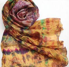 Hand dyed habotai silk shibori scarf wrap by FiberArtemis Crochet Shawl, Shibori, Scarf Wrap, Tie Dye, Trending Outfits, Dyed Silk, Summer Evening, Shawls, Layers
