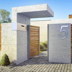 mur de clôture moderne-jardin-bois-beton