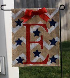 Patriotic monogramed burlap garden flag. Baybreeze Crafts