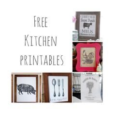 Free kitchen printables. Farmhouse kitchen decor.