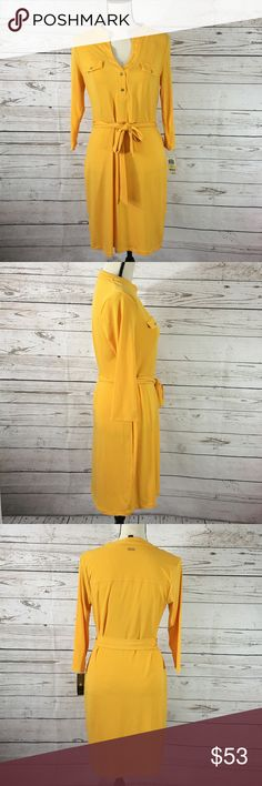 "Thalia Sodi Yellow 3/4 Sleeve V-Neck Stretch Dress Gorgeous mustard yellow, stretchy, v-neck dress with a tie belt. Super comfortable dress!  New with tags. Bust: 36""; length in the back from the shoulder: 36 1/4""; Waist: 33"". Measurements are approximate and laying flat. Smoke free home. 🌺Thank you for shopping my closet 😊🌺 Thalia Sodi Dresses"