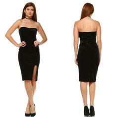 """""""Hope Now"""" Dress - Our new black velvet dress is so beautiful!! With its straplessandgorgeous fitted design, it is the perfect piece to wear to any special occasion. We're obsessed withthe padded bust and thigh slit, you're sure to look like a goddess!  Model is 5'5, 32 C bust, size 0/2 pants, size small top and is wearing a size small Fits true to size  Strapless Dry Clean Only Color:Black  - $32.00"""