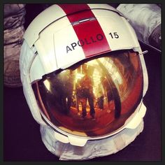 This helmet was worn by #astronaut David Scott commander of the #Apollo15 mission, the first to use a vehicle on the surface of the moon! #NASA #MyReflection #MuseumSelfie #HistoryIsFun #ITweetMuseums @National Air and Space Museum Smithsonian