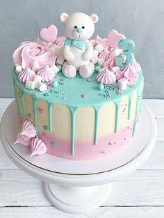 pink and green teddy cake - # baby cake - baby kuchen - Baby Shower Ideas Gateau Baby Shower, Baby Shower Cupcakes, Baby Shower Drip Cake, Baby Shower Cake Designs, Cute Birthday Cakes, Beautiful Birthday Cakes, Beautiful Cupcakes, Baby Girl Birthday Cake, Bear Birthday