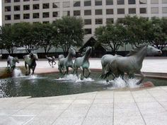 The Las Colinas Stallions Fountain in Irving Texas.