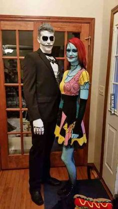 Jack and Sally Couples Costume ., Jack and Sally Couples Costume . Jack and Sally Couples Costume . Disney Halloween, Cute Couple Halloween Costumes, Looks Halloween, Halloween 2017, Family Halloween, Halloween Cosplay, Halloween Outfits, Sally Halloween Costume, Disney Couple Costumes