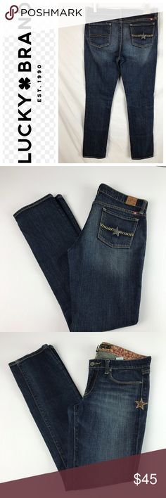 Lucky Brand Lucky Legend ZOE Straight Leg Jeans Jeans are in great used condition with normal wear on thighs and leg bottoms   Measurements taken laying flat   Waist- 17  Hip- 20  Rise- 8  Inseam-32   Thigh- 9  Leg Opening-7.5   Item # 2-14-18 DM 7.43 Lucky Brand Jeans Straight Leg