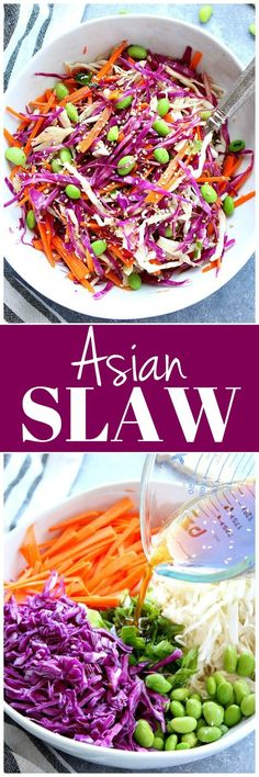 Asian Slaw Recipe - easy, colorful slaw with cabbage, carrots, green onions and sesame oil dressing. Enjoy with takeout chicken or pork.