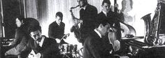 A really cool picture of Blues Inc., probably very early 1963: not sure who's on organ, but the rest should be Alexis Korner, Ginger Baker, Dick Heckstall-Smith, Jack Bruce, and Johnny Parker.