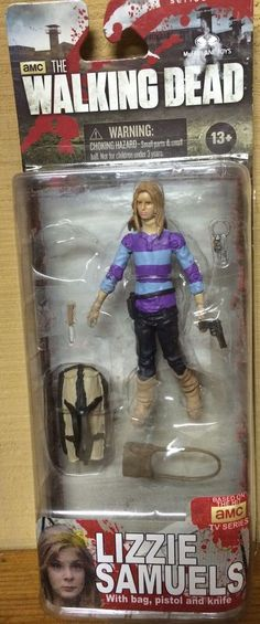 "This is a custom action figure of Lizzie Samuels played by Brighton Shabrino from the T.V. Series ""The Walking Dead"", as she appears in the season four - ""The Groove"". Description from ebay.com. I searched for this on bing.com/images"