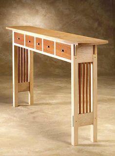 Prairie Sofa Table: Chris Horney: Wood Sofa / Hall Table - Artful Home Wooden Furniture, Cool Furniture, Furniture Projects, Wood Projects, Furniture Plans, Fine Woodworking, Woodworking Furniture, Woodworking Projects, Popular Woodworking