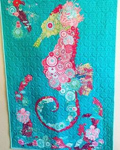 Wendy and Amy - @wendybzquilting & @awade64 - made this amazing seahorse quilt for Chelsea's soon-to-be baby girl's nursery - @pinkdoorfabrics.  Using Coral, Queen of the Sea by Stacy Iest Hsu - @stacyiesthsu - this quilt is truly amazing! Well done Wendy and Amy! And congratulations Chelsea! #ShowMeTheModa  #modafabrics