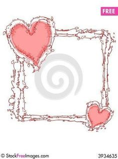 Free downloadable Doodle Ink Pink Hearts Frame Or Border Royalty Free Stock Photo - 3934635
