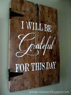 Handpainted Wood Barn Door with Grateful Quote