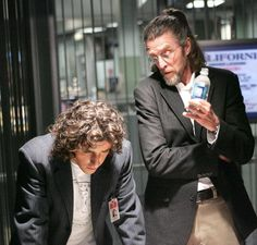 """David Krumholtz as Niall O'Neill and John Glover as Erik Ezekiel, from the latest piece I'm working on. (the screen cap is from Numb3rs)  They're secondary characters in the cyber'verse, featuring in the background of HARD REBOOT and """"Swimming through the Net"""" but this time they got their own story. (The Dan and David muses in my head.)"""