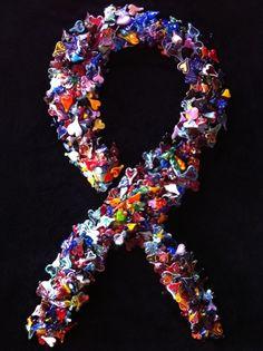 I just made a 4 Heart Collage, Aids Awareness, World Aids Day, Rainbow Ribbon, Glass Art, Original Art, Sculptures, Hearts, Handmade