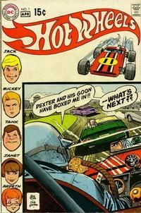 "Jack Wheeler and friends form the Hot Wheels driving club. Dexter and cronies have their own gang and they don't care for rules. Art by Alex Toth (also an animator). Based on the cartoon by Ken Snyder (""Roger Ramjet"") adapting the toy by Mattel (""Barbie"")."