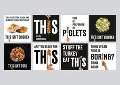 London design studio Johnson Banks has created a visual identity for new meat alternative brand This, aimed at flexitarians wanting to reduce their animal consumption. Turkey Recipes, Vegan Recipes, Vegan Food, Vegan Market, Cooking Competition, Meat Substitutes, Quorn, Great British Bake Off, La Red