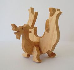 Wooden Toy Dragon Waldorf Wood Toy Hand Cut by OohLookItsARabbit, $20.00