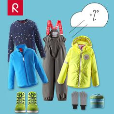 DRESS FOR THE WEATHER  +2°, cloudy and a heavy wind.  Choose a moisture wicking base layer, waterproof pants and sneakers, a warm fleece, a water repellent jacket, topped with a windproof beanie and fleece mittens – ready steady go! #reima #kidswear #layerdressing #kids http://reima.com/en