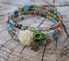 The Original Day of the Dead Wrap Around Bracelet 3 loop Green skuLL Cream Rose