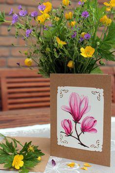 Grüße - Grusskarte -Magnolie- - ein Designerstück von LiRaBellus bei DaWanda