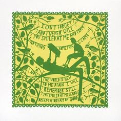 Limited edition 'I Can't Forget' screen print by Rob Ryan. Vibrant two colour screen print in banana yellow and green. Sweet Shirt, Rob Ryan, Royal College Of Art, I Cant, Paper Cutting, Screen Printing, Creations, Vogue, Etsy Shop