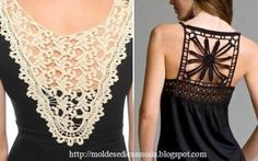 6 DIY Lace Refashion T Shirt Ideas -Interesting lace fashion ideas for remodeling t shirt in new elegant and creative way. Find out many other diy projects. Shirt Makeover, Clothes Crafts, Sewing Clothes, Do It Yourself Fashion, Diy Couture, Art Textile, Altered Couture, Refashioning, How To Make Clothes