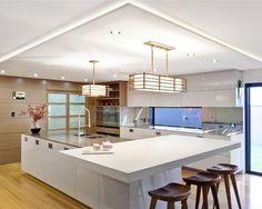 Clean white sleek design japanese kitchen