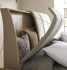 Storage headboard is a great idea! We always toss our pillows on the floor or on top of the dresser - would be so nice not to do that! Headboard with storage for throw pillows His and Hers : Naturally Casual : Beds : Home Bedroom, Master Bedroom, Bedroom Decor, Bedroom Ideas, Bed Ideas, Decor Ideas, Caracole Furniture, Bedroom Furniture, Diy Casa