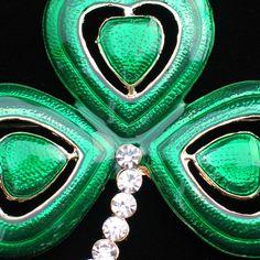 "ST PATRICKS PATTY'S DAY IRISH LEPRECHAUN SHAMROCK FLOWER CLOVER PIN BROOCH 2.5""   | eBay"