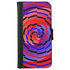 Red & Blue Counter Spiral iPhone 6 Wallet Case