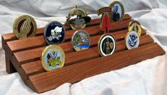 Stand for Military Challenge Coins Woodworking Apron, Woodworking Books, Woodworking Magazine, Woodworking Projects Plans, Coin Holder Military, Military Shadow Box, Challenge Coin Holder, Challenge Coin Display, Coin Display Case
