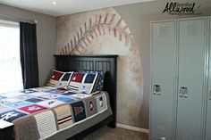 Jennifer Allwood's son's bedroom wall-- baseball mural--great!