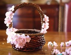 Wicker Pink Easter Basket My Favorite Flower Girl Basket. Diy Flowers, Wedding Flowers, Purple Flowers, Diy Wedding, Wedding Gifts, Fall Wedding, Cherry Blossom Wedding, Flower Meanings, Diy Ostern