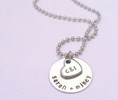 Personalized Family Necklace - Necklace with Kids Names and Parents Initials - Hand Stamped Necklace - Custom Family Necklace