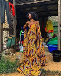 Image may contain: 1 person, standing and outdoor African Fashion trends African Prom Dresses, Ankara Dress Styles, African Wedding Dress, Latest African Fashion Dresses, African Inspired Fashion, African Print Fashion, African Prints, Tribal Fashion Outfits, African Fabric